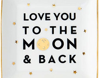 I Love You to the Moon and Back Gift Set - Trinket Dish and Moon Note Cards