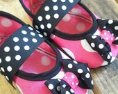 Pink Polka Dot BABY Play Shoes (Sizes 1 - 5) MEASURE your child's foot PLEASE