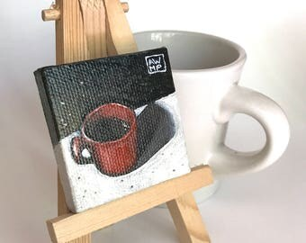 "Coffee Break - Original tiny oil painting - 2"" x 2"""