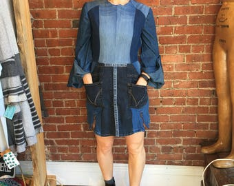reclaimed denim mini - upcycled- eco clothing- sustainable fashion- Patchwork denim mini dress with pocket and zipper details chambray 6 8