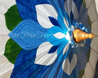 Parasol - Blue and White Lotus Flower Parsasol