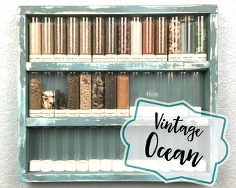VINTAGE/OCEAN BLUE- Souvenir Sand Shelf  - Shabby Chic Vintage beach sand collection (with or without 42 glass bottles)
