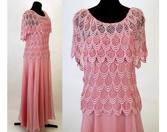 1980s gown pink lace and chiffon mother of bride dress Size 10 Samax