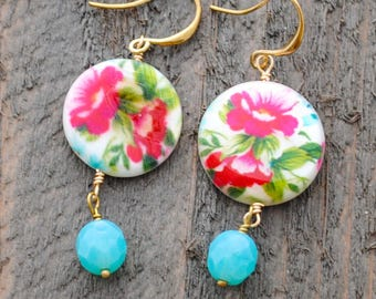 Pink Rose and Turquoise Dangle Earrings - Vintage Inspired