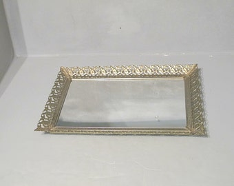 Vintage Vanity Mirror Tray / Decorative Ornate Silver Metal Frame with Flowers and Leaves Dresser Table Top Perfume Bottles Jewelry Display