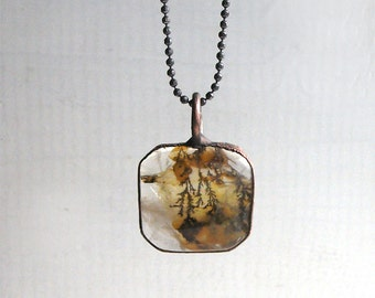 Quartz Necklace Raw Stone Copper Jewelry Crystal Gemstone Agate Stone Pendant Artisan Midwest Alchemy