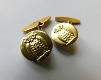 Antique Wise Old Owl Cufflinks or Button Studs Gold Gilt