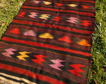 "Long Dark Red Wool Runner Rug/Kilim  7 ft 9 x 3 ft 11"" 236 x 120 cm. Flatweave.  Tapis"
