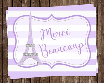 Paris Thank You Cards, French, Purple, Girl, Merci Beaucoup, Eiffel Tower, France, 24 Cards with Envelopes, FREE Shipping, OHLAL, Oh La La