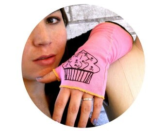 Arm Warmers, Long Finger-less Gloves, Poison Cupcake Print, Skull and Crossbones, Pink Gloves, Gift For Teen Girl, Punk Rock Accesories