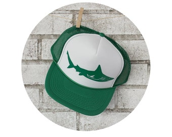 Shark Hat, Shark Baseball Hat, Trucker Hat, Baseball Cap, Green and White, Gift for Men, Boyfriend Gift, Shark Week, Unisex Baseball hat