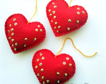 Felt ornaments, felt hearts, Valentine Ornaments, Felt Valentine Decorations, Felt Ornaments, Christmas ornaments, Felt ornament Set