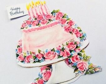 Pink Birthday Tags - Set of 3 - Retro Birthday Tag - Birthday Cake Tags - 1950's  Birthday Tags - Pink Flower Cake - Happy Birthday -