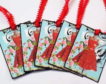 Clearance Tag Soup 3 - Set of 28 - Beautiful Dress Tags - Red Dress Tags - Yellow Dress Tags - Black Dress Tags - Pink Dress Tag - Gift Tags