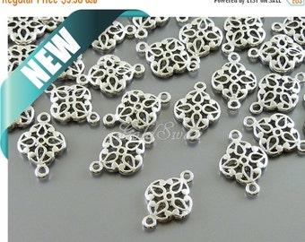 15% SALE 4 shiny rhodium silver small filigree connectors, filigree charms, filigree jewelry pendants 1863-BR