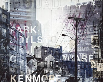 Inbound | original Boston skyline painting | mixed media collage | Boston canvas art