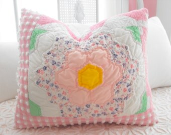 SWEETEST COTTAGE STYLE Vintage Chenille Antique Quilt Minky Patchwork Pillow