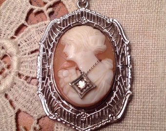Art Deco Shell Cameo Pendant Sterling Silver