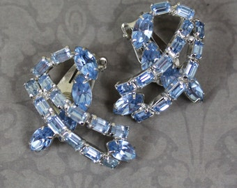 Vintage Baby Blue Rhinestone Curved Clip On Earrings