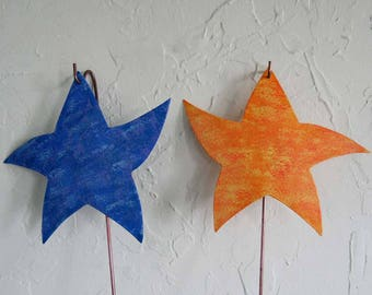 "Metal garden art dancing star stakes - Whimsical recycled metal garden /porch decor purple orange yellow 8"" x 8"""
