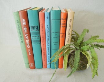 Blue Green Orange Books for Decor - Colorful Book Stack - Instant Library - Books by Color Vintage
