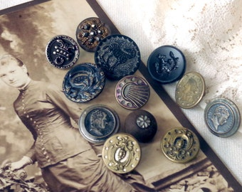 Antique Victorian BUTTON Lot Steel Cut Black Glass Portrait Perfume Flowers and Leaves - Antique Metal Waistcoat Buttons