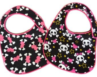 Girly Hearts Skulls and Crossbones Baby Bibs - set of 2 bibs