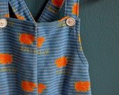 Vintage Blue and Orange Elephant Print Overalls - Size 12 Months