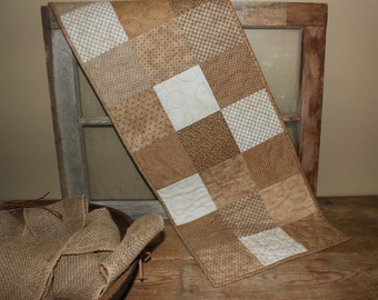Hello neutrals quilted table runner