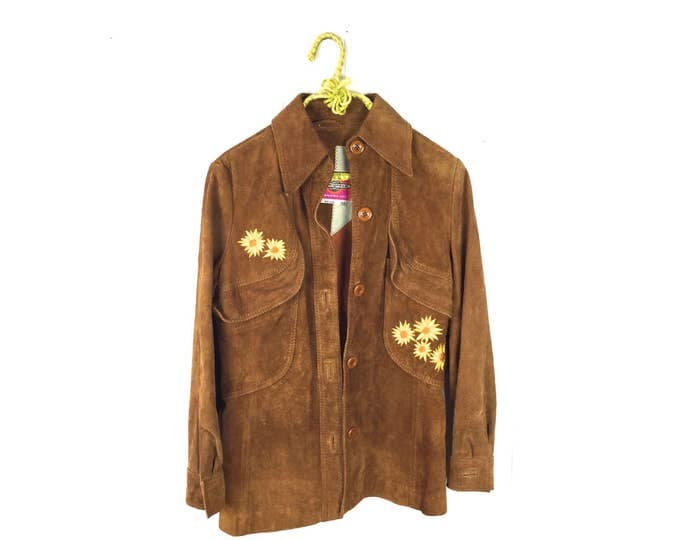 Featured listing image: Vintage 1970's Ms. Pioneer Daisy Embroidered Suede Jacket