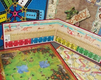 5 Vintage Game Boards Aggravation Dino-opoly Chutes & Ladders Boardwalk Stratego