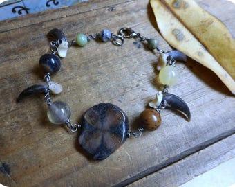 Coyote Crossing. Gemstone bracelet. Chiastolite Cross Stone, Amazonite, Citrine, Quartz & Genuine Coyote Claw bracelet