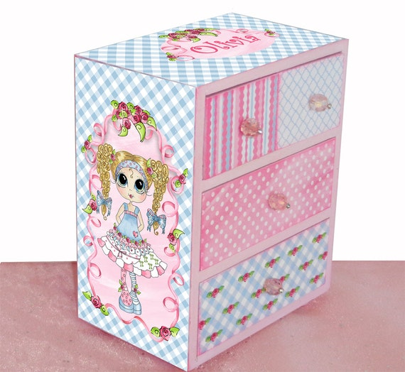 Items similar to girls jewelry box big eyes sugar and for Girls large jewelry box
