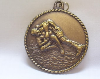 PERSONALIZED WRESTLING MEDAL w/ yellow neck ribbon goldtone