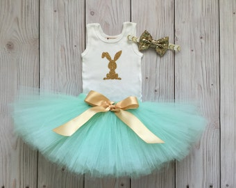 Sweet Mint and Gold Bunny Easter Tutu Dress for Baby Girls