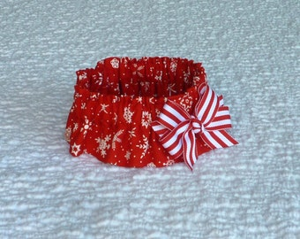 "Dog Collar, Pet Bandana, Snowflakes on Red Dog Scrunchie Collar with peppermint stripe bow - Size M - 14"" - 16"""