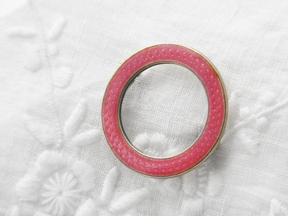 Antique Brooch | Marius Hammer Pink Guilloché Pin | Pink Enamel Antique Brooch | Norwegian Silver 830S Hallmark | Pink Guilloché Circle Pin