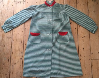 1940s French Cotton Smock Tunic Dress   Green Yellow Red Weave   Long Sleeved   M L   Vintage   Workwear Chore