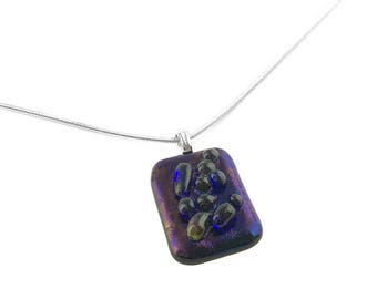 Pendant Necklace, Blue and Purple Iridescent Glass with Bubbles
