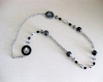 Long Black Beaded Necklaces, Silver Jewelry, Silver Necklace, Beaded Necklaces, Black Necklace, Long Chunky Necklaces, Silver Jewelry,  N851