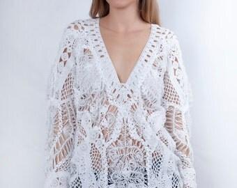 Crochet Blouse, Boho Tunic Top, Organic Clothing, White Lace Top, Chic Top, V Neck Top, Sheer Blouse, Boho Maxi Top, Office Blouse