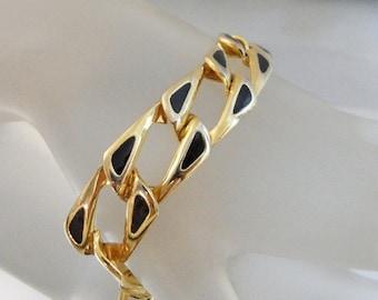 CHRISTMAS SALE Vintage Black and Gold Bracelet.  Gold Tone. Black Enamel Link Bracelet.