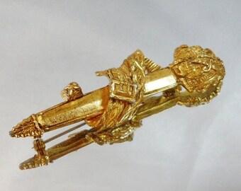 ON SALE Vintage Sword Brooch.  Gold Plated.  Swashbuckling.