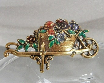 ON SALE Vintage Flower Wagon Brooch. Garden Wheelbarrow Flowers Pin.