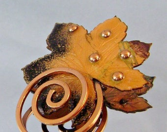 ON SALE Matisse Copper Vintage Brooch Autumn Leaf