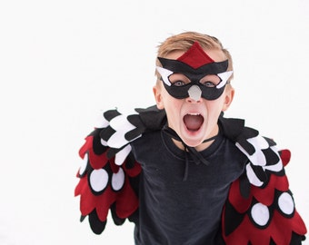 Children Woodpecker Costume, Bird Wings and Mask Kids Halloween Carnival Dress up Toy, Girls and Boys, Toddlers