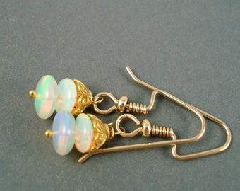 Opal Earrings, Ethiopian Fire Opals and Gold WiresClear Fiery Opals