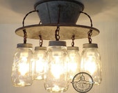 Lamp Goods' Exclusive Mason Jar LIGHT FIXTURE 5-Light - Flush Mount Ceiling Lighting Fixture Modern Farmhouse Chandelier Rustic Kitchen Lamp
