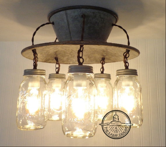 lamp goods 39 exclusive mason jar light fixture 5 light. Black Bedroom Furniture Sets. Home Design Ideas