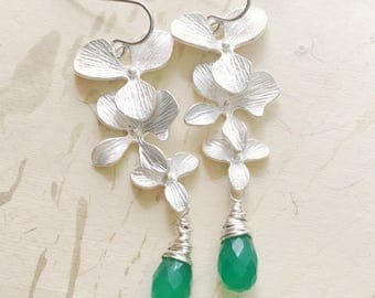 Silver Orchid Earrings Green Chalcedony Nature Jewelry Bridal Floral by MinouBazaar